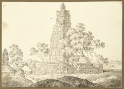 N.E. [in fact N.W.] view of the Mahabodhi temple, Bodhgaya (Bihar). 27 December 1824